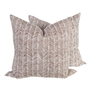 Alan Campbell Chocolate Zig Zag Pillows - A Pair For Sale