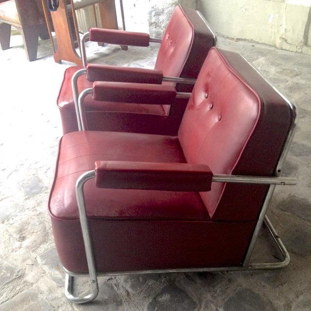Red Thonet Frères by René Coquery Documented Modernist Pair of Club Chairs For Sale - Image 8 of 8