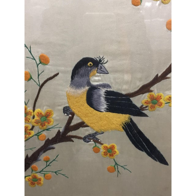 Fabric Vintage Mid-Century Chinese Embroidered Rooster and Bird Panels - A Pair For Sale - Image 7 of 11