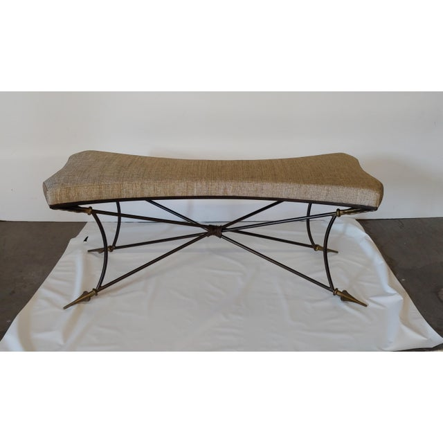 Tan Newly Upholstered Bench With Neoclassical Style Base For Sale - Image 8 of 8