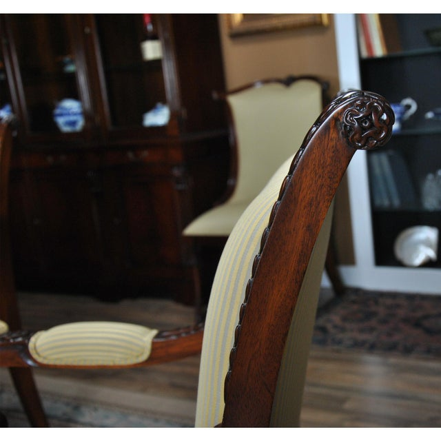 Carved Empire Upholstered Arm Chair - a Pair For Sale - Image 9 of 13