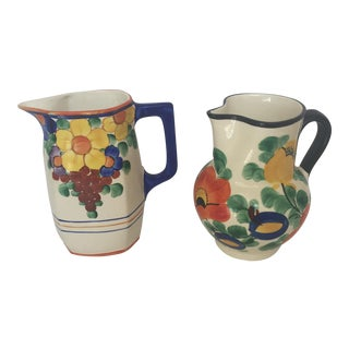 Vintage Deco Czech Flowered Pitchers - A Pair For Sale