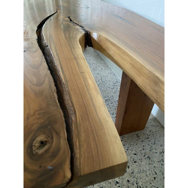 Handcrafted Live Edge Teak Slab Bench or Coffee Table For Sale In Miami - Image 6 of 7