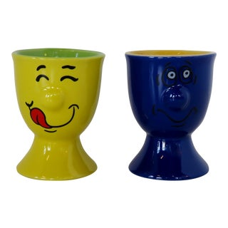 Whimsical Egg Cups - a Pair For Sale