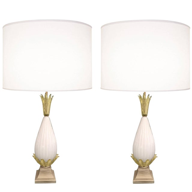 Pair of Fluted Murano Glass Lamps For Sale