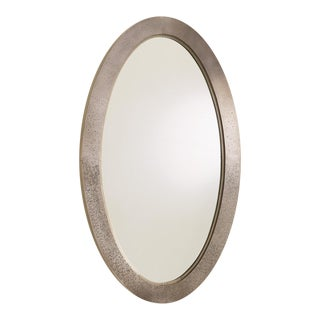 Global Views Modern Textured Nickel Oval Everest Wall Mirror For Sale