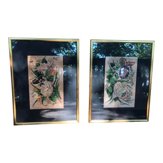 Chinese Hand-Painted Decorative Floral Butterfly Silk on Wood Paintings - a Pair For Sale