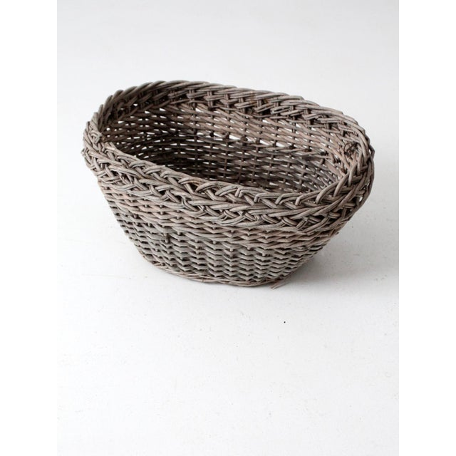 Gray Antique Wicker Basket For Sale - Image 8 of 12