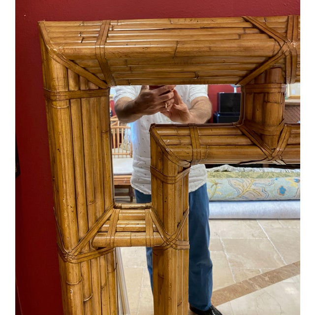 Mid-Century Modern Vintage Kreiss Rattan Mirror For Sale - Image 3 of 11