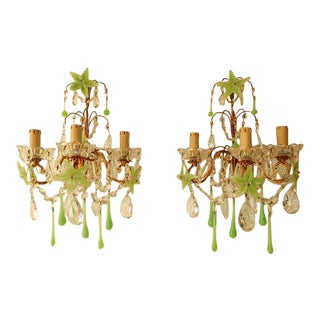 1920 French Green Opaline Murano Flowers and Drops Crystal Sconces For Sale