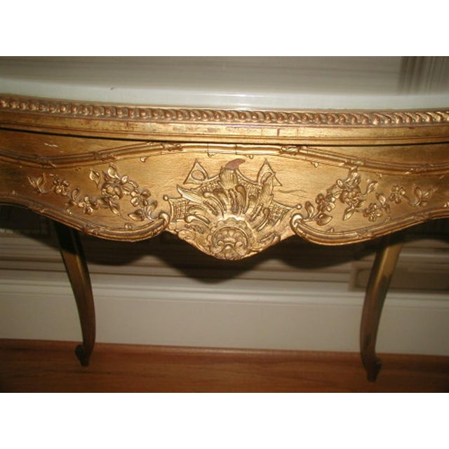 Mid 19th Century 1850s French Regency Gilt & Alabaster Table For Sale - Image 5 of 8