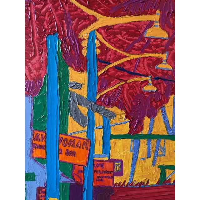 "1980s ""Dan Bissell Sep 83"" Colorful Street Scene Oil on Canvas, Signed For Sale - Image 5 of 11"