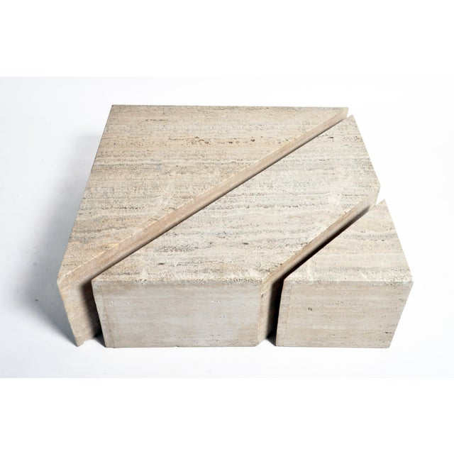Italian Travertine Marble Three-Part Polygon Coffee Table For Sale In Chicago - Image 6 of 13