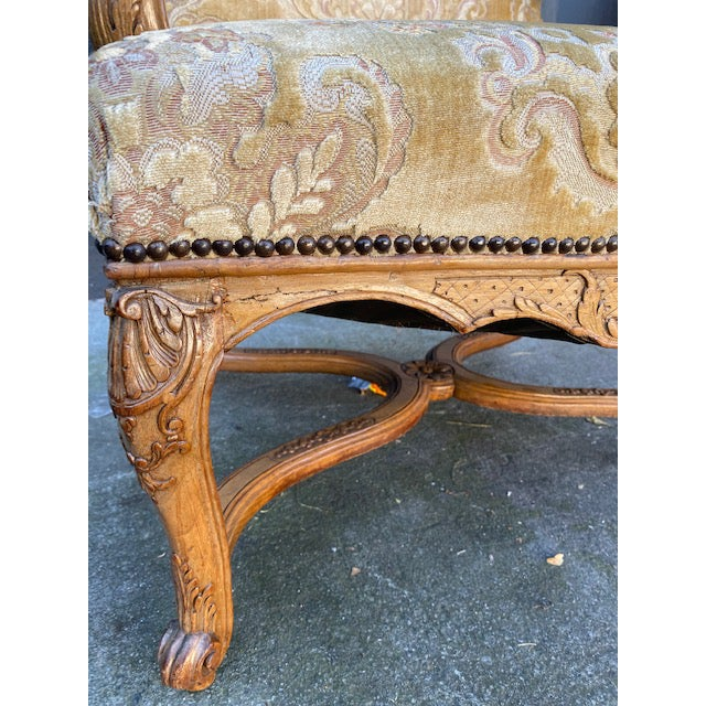 Wood Single 18th C. French Regence Walnut Carved Arm Chair For Sale - Image 7 of 12
