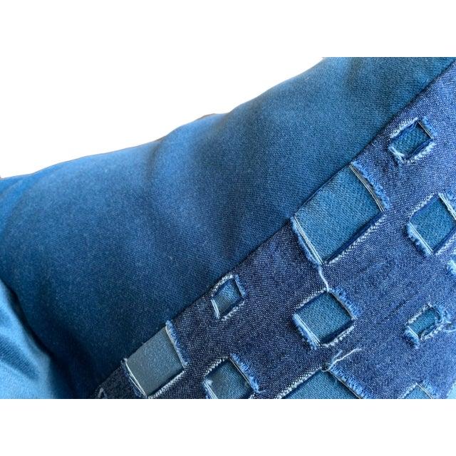 2020s Boho Chic Grunge Denim and Blue Velvet Pillows - a Pair For Sale - Image 5 of 7