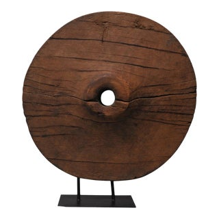 Late 19th Century Southeast Asian Teak Ox Cart Wheel For Sale