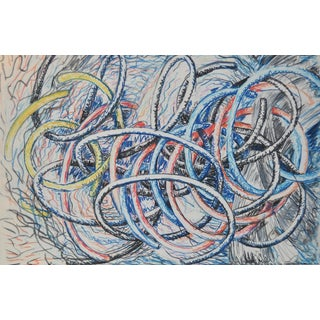 Dennis Croteau Geometric Abstract Mixed Media Monotype, 1985 For Sale