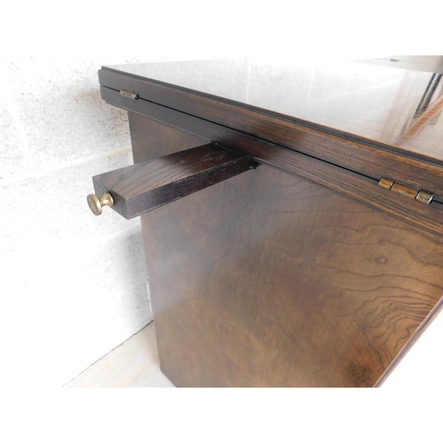 Thomasville Campaign Style Burl Walnut Flip Top Rolling Server For Sale - Image 11 of 12