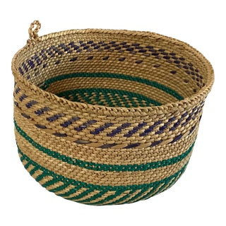 Vintage Mid Century Round Woven Basket For Sale