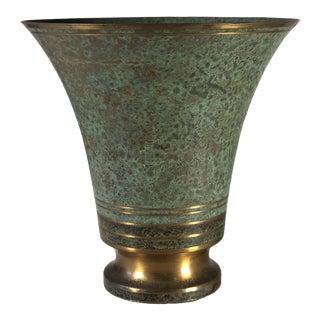 1930s Vintage Carl Sorensen Bronze Verdigris Vase For Sale