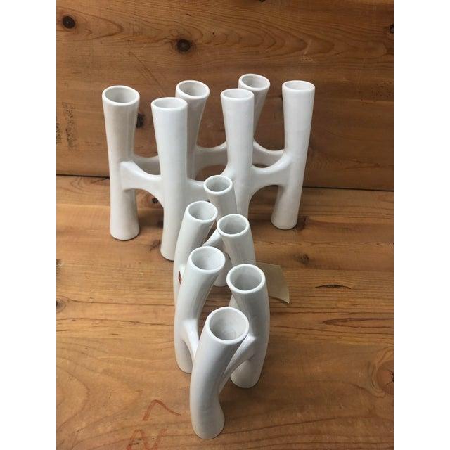 Vintage White Coral Vase Flower Ceramic Vases - 3 Piece Set For Sale In San Diego - Image 6 of 11