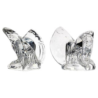1950s Solid Glass Eagle Bookends, Pair For Sale