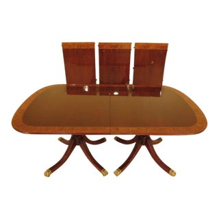 1990s Vintage Councill Furniture Banded Mahogany Dining Table For Sale