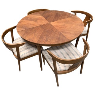 Round Walnut b.p. John Midcentury Dining Set With Reupholstered Chairs For Sale