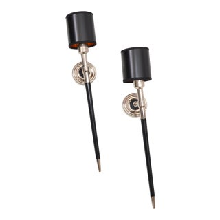 Maison Lancel French Mid-Century Modern Pair of Chrome & Wood Wall Sconces 1960 For Sale