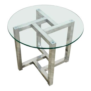 Mid Century Modern Round Chrome & Glass Milo Baughman Side End Table 1970s For Sale