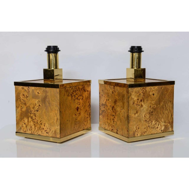 Burlwood and Brass Lamps Attributed to Romeo Rega For Sale In New York - Image 6 of 11