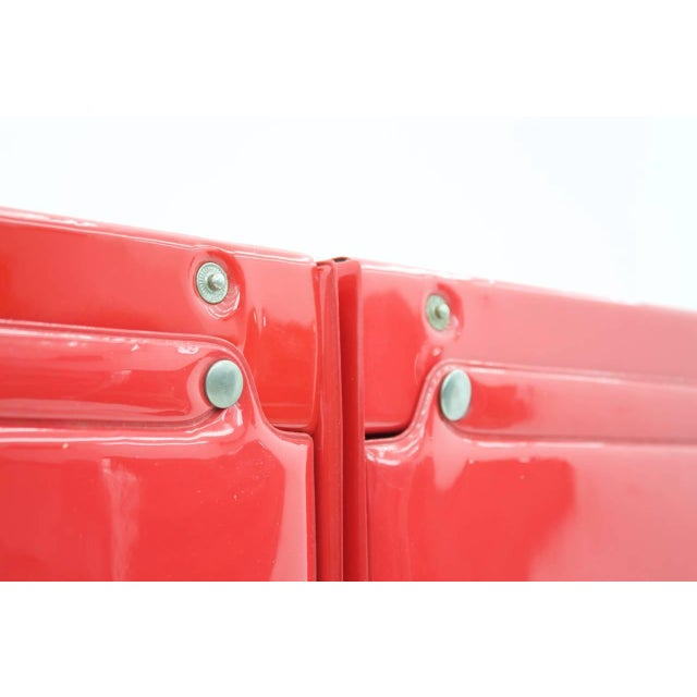 Metal Rare Otto Zapf Red Plastic Shelf System, Germany 1971 InDesign For Sale - Image 7 of 9