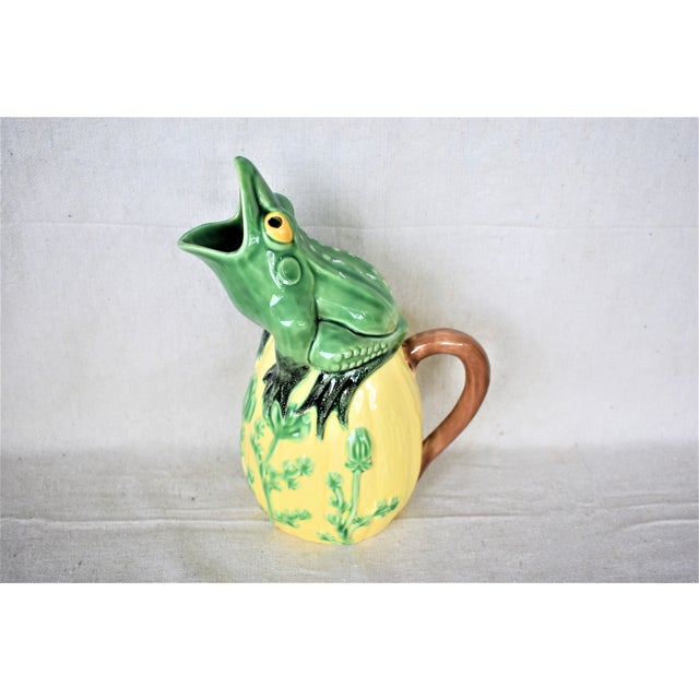 Ceramic Vintage Frog Pitcher For Sale - Image 7 of 7