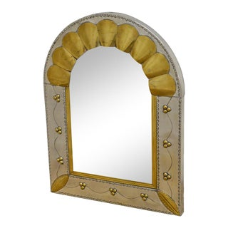 Mexican Arts & Crafts Style Tin & Brass Arched Mirror For Sale