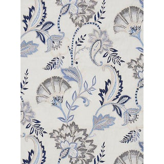 Scalamandre Adara Embroidery, Delft Fabric For Sale