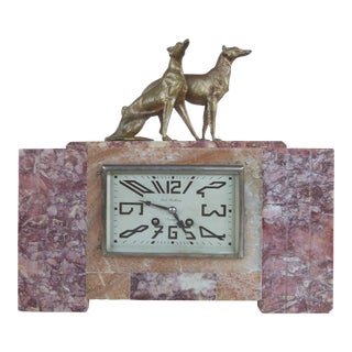 French Art Deco Mantel Clock with Bronze Dogs by Rene Neuhaus for Limoges For Sale