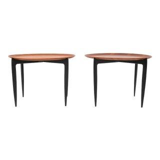 Pair of Fritz Hansen Teak Tray Tables with Ebonized Frame