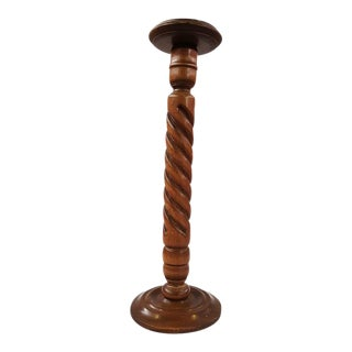Vintage French Barley Twist Wood Floor Lamp Stand For Sale