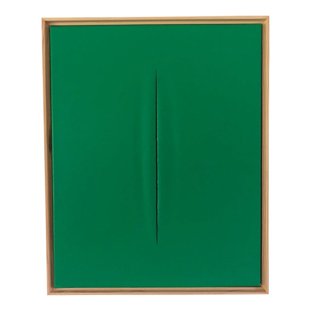 Green Slice Modern Art Painting by Tony Curry For Sale