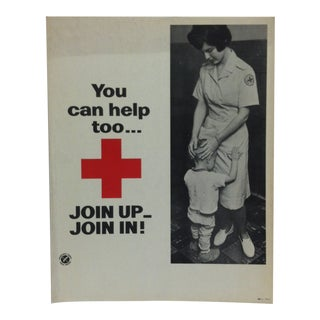 "1950 Vintage ""You Can Help Too ..."" Red Cross Sign For Sale"