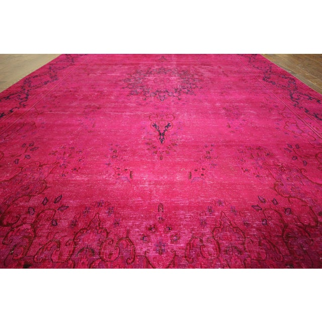 """Pink Overdyed Oriental Floral Rug - 9'6"""" x 14'10"""" - Image 5 of 10"""