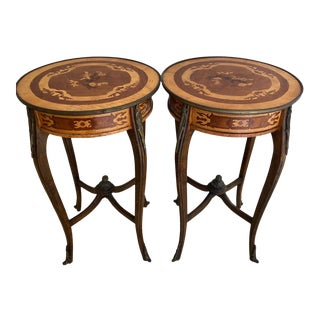 French Louis XV Marquetry Round Side or End Tables - a Pair For Sale