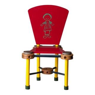 1987 Original Joanne Shima Memphis Milano Modern Folk Tramp Art Tinker Toys Oreo Cookies Child's Chair Wood Sculpture For Sale