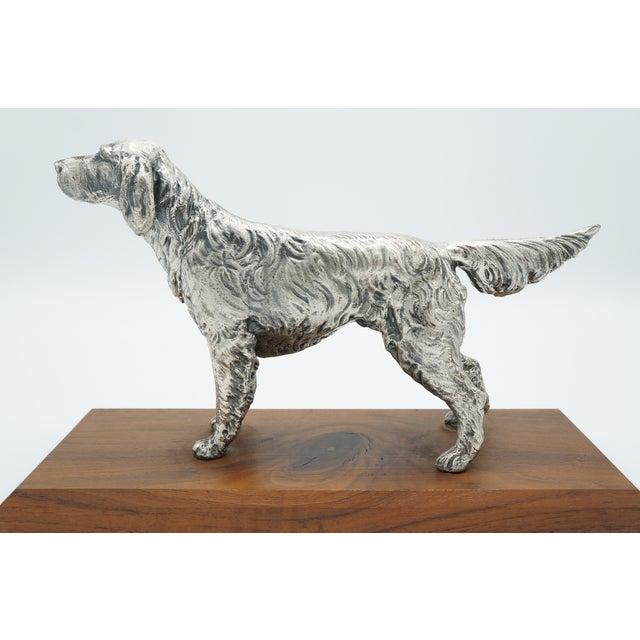 Vintage Silverplate Sporting Dog on Wooden Base For Sale - Image 11 of 11