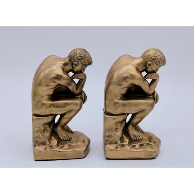 Figurative 1928 Metallic Gold Thinking Man Bookends For Sale - Image 3 of 12