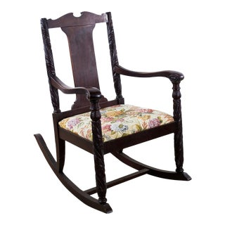 Antique Aimone Mfg, Co. Victorian Hand Carved Rocking Chair For Sale