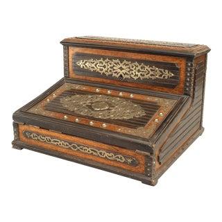 Antique English Victorian Oak Lap Desk Box For Sale