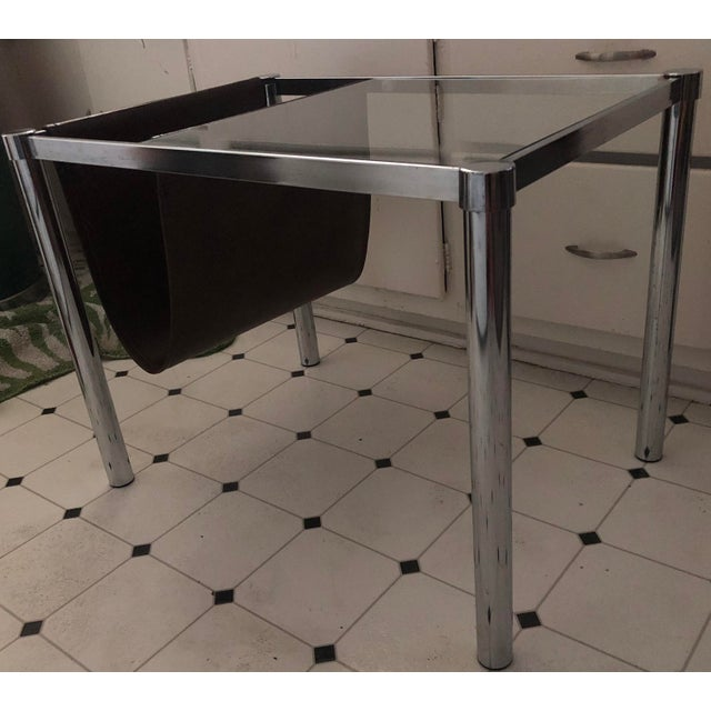 Mid-Century Modern Milo Baughman for Design Institute of America Style Chrome and Glass-Top Table With Leather Magazine Rack For Sale - Image 3 of 6