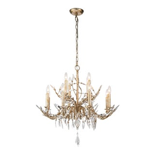 Glazed 12 Light Chandelier, Silver For Sale