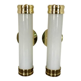 Vintage Art Deco Style Polished Brass & Cylinder White Glass Wall Sconces - a Pair For Sale